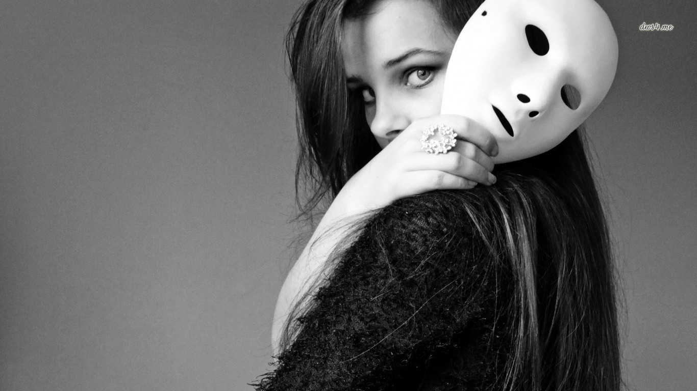 19160-girl-with-a-white-mask-1366x768-photography-wallpaper